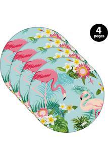 Sousplat Mdecore Flamingo 32X32Cm Azul 4Pçs