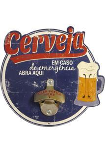 """Abridor De Garrafa """"""""Em Caso De Emergência..."""""""" Azul Marinho Kasa Ideia"""
