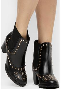 Bota Couro Shoestock Curta Chelsea Feminina - Feminino-Preto