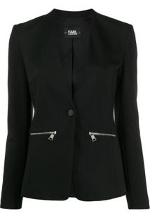 Karl Lagerfeld Blazer Punto Com Logo - Preto