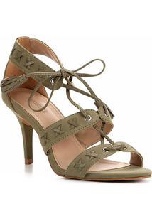 Sandália Couro Shoestock Tassel Salto Alto Nobuck Feminina - Feminino-Verde