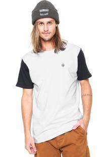 Camiseta Volcom Fall Peaks Raglan Branca/Preta