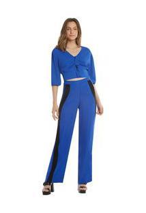 Calça Zinco Pantalona Cós Alto Composê Tecido Azul