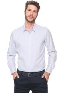Camisa Aleatory Slim Listrada Azul/Branca