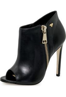 Bota Open Boot Conceito Fashion Couro Napa Preta