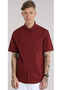 Camisa Estampada De Cactos Vinho