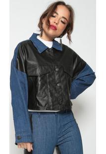 Jaqueta Cropped Com Recortes- Preta & Azul Escuro- Llebã´H