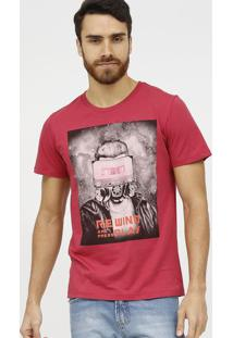 "Camiseta ""Rewind And Press Play""- Rosa Escuro & Laranja"