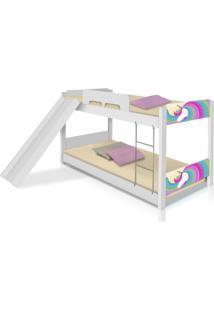Beliche Baixa Unicã³Rnio Arco ÍRis Com Escorregador Casah - Branco/Multicolorido - Menina - Dafiti