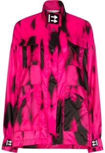 Off-White Jaqueta Corta-Vento Tie-Dye Com Logo Em Aplicação - Rosa