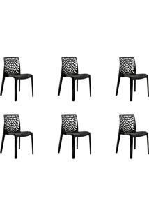 Kit 06 Cadeiras Gruv Preta Rivatti