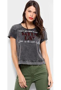 Camiseta Dimy Com Brilho Feminina - Feminino-Chumbo