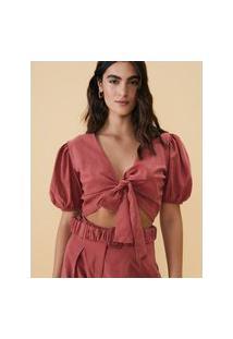 Amaro Feminino Blusa Cropped Laço Cintura Mangas Bufantes, Rosa Queimado