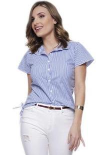 Camisa Sob Manga Curta Listrada Algodão Feminina - Feminino-Azul Claro