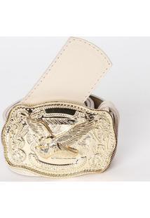Cinto Em Couro Com Tag - Bege Claro & Dourado- 5X80Clança Perfume