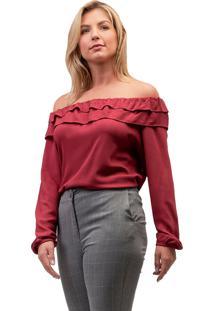 Blusa Viscose Mx Fashion Babados Holly Vinho