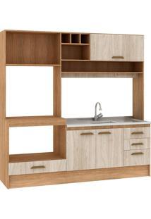 Cozinha Compacta Livia 4 Portas Sem Tampo Carvalho/Blanche - Fellicci