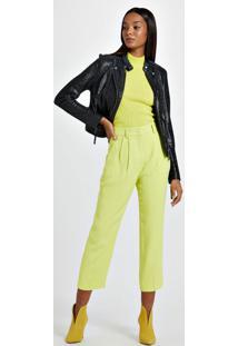 Calça De Alfaiataria Colorida Amarelo Neon