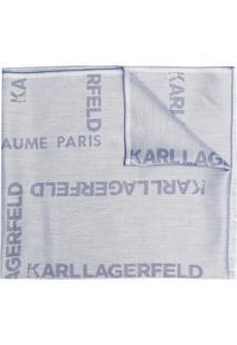 Karl Lagerfeld Cachecol De Jacquard Com Logo - Azul