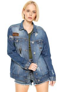 Jaqueta Jeans Colcci Patches Azul