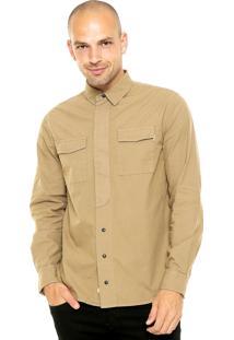 Camisa Sarja Timberland Botões Bege