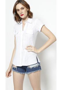 Camisa Listrada Com Bolso- Branca- Intensintens