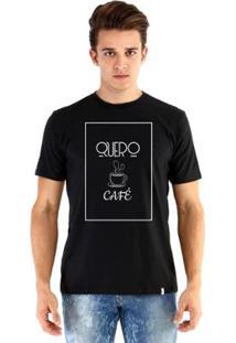 Camiseta Ouroboros Manga Curta Quero Café - Masculino-Preto