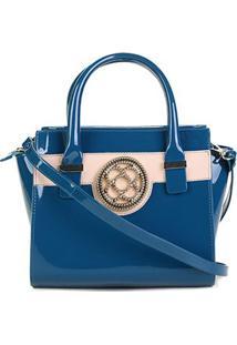 Bolsa Petite Jolie Handbag Feminina - Feminino-Azul+Bege
