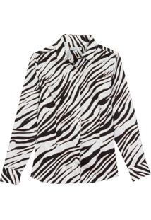 Camisa Dudalina Manga Longa Estampa Zebra Feminina (Estampado, 46)