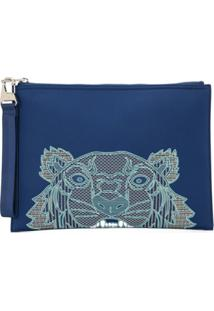 Kenzo Tiger Embroidery Clutch - Azul
