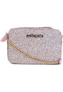 Bolsa Petite Jolie Mini Bag Nic Glitter Feminina - Feminino-Rosa
