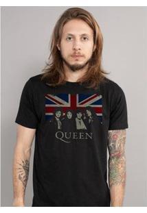 Camiseta Masculina Queen Uk Flag - Masculino-Preto