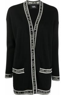 Karl Lagerfeld Logo-Trim Cardigan - Preto