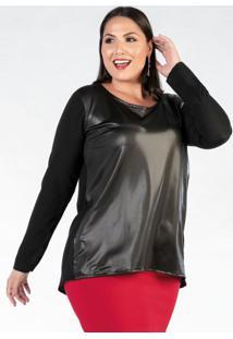 Blusa Plus Size Preta Com Recorte Frente