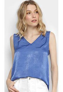 Regata Aishty Decote V Feminina - Feminino-Azul