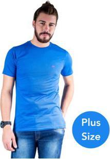 Camiseta Mister Fish Gola Careca Basic Plus Size Masculina - Masculino-Azul Royal
