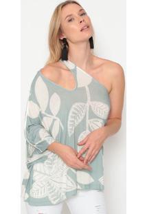 Blusa Ombro ÚNico Com Linho - Off White & Verde Claro