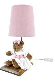 Abajur Toys Escuro Ursa Rosa Quarto Bebê Infantil Menina
