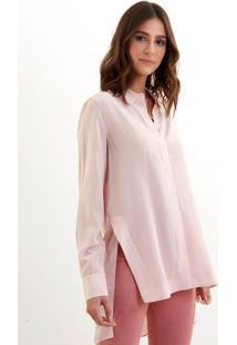 Camisa Le Lis Blanc Helena Slit Blush Seda Rosa Feminina (Blush 14-0506Tcx, 48)
