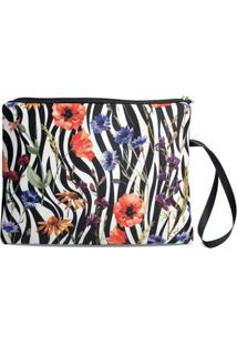 Necessaire Porta Biquíni Em Neoprene Tritengo - Zebra Floral Zíper Preto - Feminino-Branco+Preto