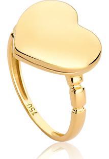 Anel De Ouro 18K Coração Com Relicário
