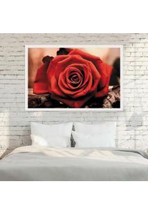 Quadro Love Decor Com Moldura Rosa Vermelha Branco Grande