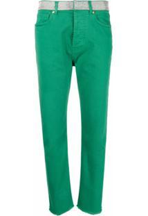Alexandre Vauthier Calça Jeans Com Aplicações - Verde