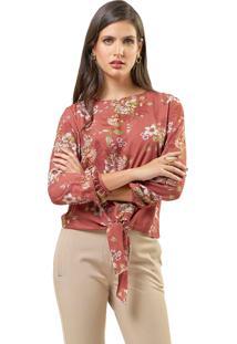 Blusa Mx Fashion Viscose Estampada Sônia Marrom