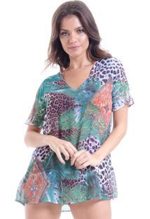 Blusa 101 Resort Wear Decote V Em Silk Estampada Onça