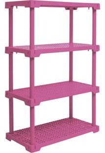 Estante Cube Com 4 Prateleiras Rosa