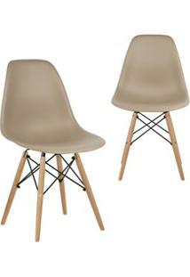 Kit 02 Cadeiras Eiffel Charles Eames Nude F01 Com Base De Madeira - Mp