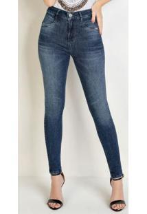 Calça Skinny Jeans Com Recorte No Bolso Sawary