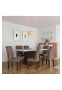Conjunto De Mesa De Jantar Rebecca I Com Vidro E 6 Cadeiras Grécia Veludo Chocolate E Off White