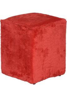 Puff Cubo Pelúcia Vermelho